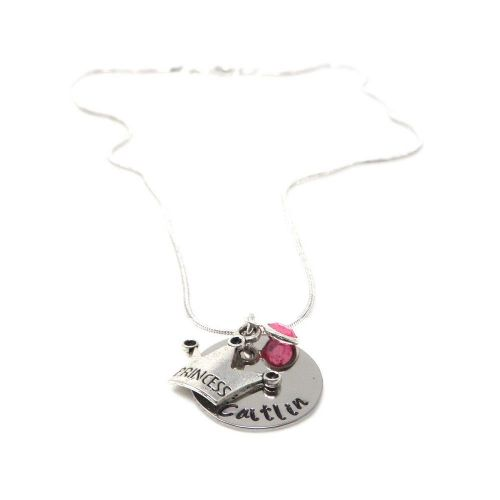 Personalised Princess Pendant Necklace with Birthstone Charm – Gift Boxed & Free Delivery UK